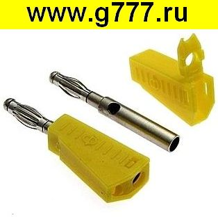 Разъём Банан Разъём Банан ZP-040 4mm Stackable Plug YELLOW