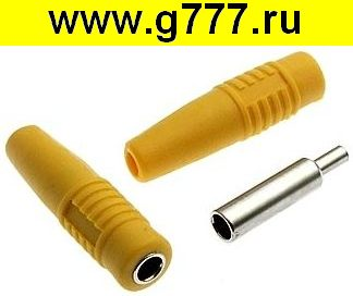 Разъём Банан Разъём Банан ZP-041 4mm Cable Socket YELLOW